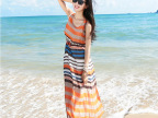 波西米亚雪纺长裙条纹连衣裙两件套背心裙子夏季海边度假沙滩裙