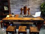 船木家具 新款老船木茶台 无油漆茶台 船木灯架 船木靠背椅