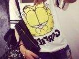 2014新款 韩国百搭宽松可爱卡通加菲大猫 女式宽松短袖t
