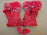 (支持颜色混批)时尚保暖女士红色真皮兔毛半指保暖手套