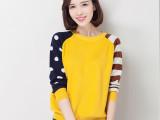 批发2015春装新款淘宝天猫热销爆款女式羊毛衫韩版长袖短款针织衫