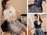 429 夏季新款女韩版两穿套装纯色长款T恤+网纱短裙两件套