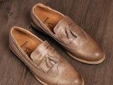 2014新春款布洛克雕花男鞋复古擦旧流苏休闲鞋英伦商务真皮鞋潮鞋