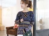 2014秋冬韩版新款几何图案宽松毛衣女 代理加盟 免费 淘宝货源