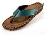 2014新款凉拖鞋男人字拖夏季潮流沙滩鞋头层真皮凉鞋 英伦男鞋