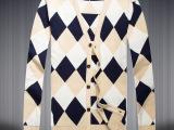 14秋款时尚男式针织衫 都市潮流英伦毛衣 修身V领开衫薄外套批发