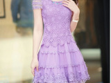 2809#2014夏季新款紫色蕾丝连衣裙 欧根纱韩版修身蕾丝裙厂