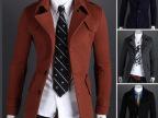 外贸批发 秋冬新款 男士休闲呢料单排扣肩章外套 中长款风衣大衣