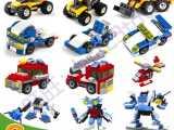 3207益智3合1拼装积木车 可拼插3种造型 乐高式积木力拼装玩