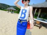 2014夏季新款韩版修身字母蕾丝雪纺包臀开叉裙套装