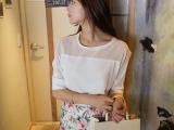 秋装新款韩版修身拼接雪纺衫秋季中袖打底衫女式衬衣
