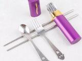 供应不锈钢礼品餐具/不锈钢礼品套装/笔筒式套装刀叉促销礼品餐具