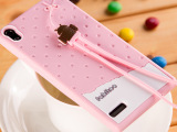 法芘兔 华为P6手机保护套带挂绳香味冰淇淋 卡通硅胶手机壳 新款
