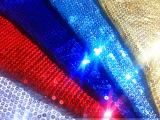 现货供应 5厘银色珠片布 亮片布 珠片布料 亮片布料