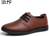 2014新款透气真皮休闲男鞋春 温州品牌男鞋批发英伦时尚男皮鞋
