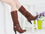 2013春秋冬中筒靴修腿骑士靴高跟水钻皮带扣女靴子批发代理黑色