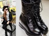 厂家直销2014秋冬新款马丁靴 真皮女靴欧美粗跟女靴 时尚圆头女
