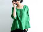 2014新款夏装 休闲大码棉麻女装 麻料女式衬衣 森女亚麻衬衫上衣