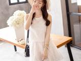 2015夏装新款韩版拼接松紧腰腰短裙纯色修身蕾丝连衣裙