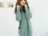 春装新款 韩版菠萝针双口袋堆堆领长袖毛衣