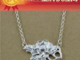 手工银饰品厂家批发 明星同款饰品 s925纯银混批淘宝货源牡丹项