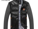 厂家直销卡哲仕2014秋冬男士新款韩版时尚简约拼接PU皮夹克外套