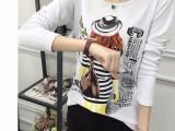 5元女式t恤春季新款韩版女装时尚宽松显瘦卡通长袖打底衫上衣
