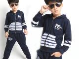 童装一件代发2014秋款儿童卫衣两件套 外贸原单条纹拼接男童套装