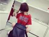 2014夏季新款撞色t恤字母显白复古红短款宽松短袖T恤女 棉t