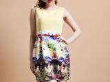 2014春夏新款欧美女印花罗马风红色背心裙无袖连衣裙