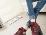 秋季新款欧洲站女士单靴高跟正品磨砂短筒骑士女靴 批发