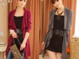 秋装新款女装韩版随性设计韩版假两件套休闲中长款上衣