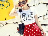 2014新款女装甜美可爱小香图案白色T恤+波点短裙伞裙套装 两件