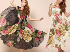 2014夏装新款波西米亚韩版品牌正品印花雪纺超长连衣裙厂家直销