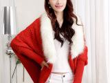 2014秋季新款兔毛毛领蝙蝠袖毛衣针织衫开衫外套
