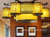 新款中式吊灯实木客厅茶楼酒店LED灯饰 羊皮大型工程灯具