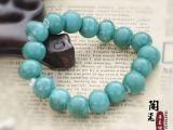 低价景德镇陶瓷首饰绿色珠子手饰串珠手链民族特色全珠珠厂家直销