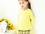 外贸批发秋冬女童装新品 女童蕾丝花边打底衫 儿童t恤上衣 D00