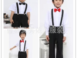 儿童礼服夏季男童背带裤短袖套装男童演出服学校表演服