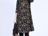 新款森女系韩版休闲经典印花复古大码显瘦长袖连衣裙