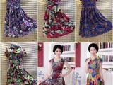 厂家直销新款妈妈装牛奶丝长裙时尚大码系带宽松腰圆领冰丝连衣裙