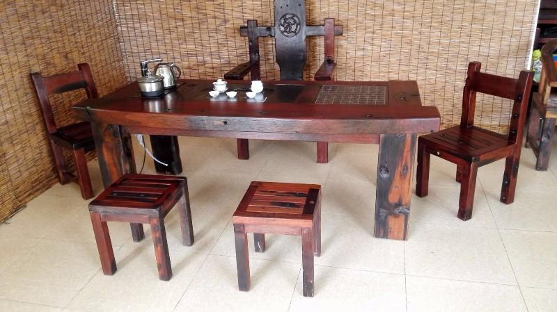 老船木茶桌椅组合批发实木茶几茶具图片中式仿古 老船木家具