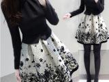 2015秋冬新款打底裙印花长袖假两件套套装裙修身收腰连衣裙