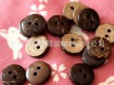 【义乌珍博】厂家批发供应 2cm圆形椰壳扣子 木质纽扣 价格优惠