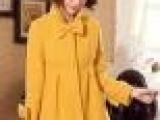 韩版可爱蝴蝶结毛呢冬装外套 中长款女式娃娃款立领呢子大衣