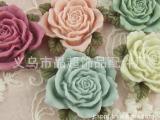 精品树脂花、饰品配件、服装辅料、diy饰品配件 带叶大玫瑰花HS