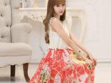 2015夏装新款印花雪纺连衣裙背心长裙韩版显瘦气质沙滩大摆裙