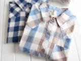 日系日单宽格子衣棉麻外贸原单中长款长袖女衬衫