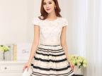 2014欧美春夏新款高腰条纹印花圆领收腰短袖拼接连衣裙