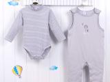 2015秋装新款0-1岁婴幼儿男宝宝夹棉哈衣背带裤二件套套装批发